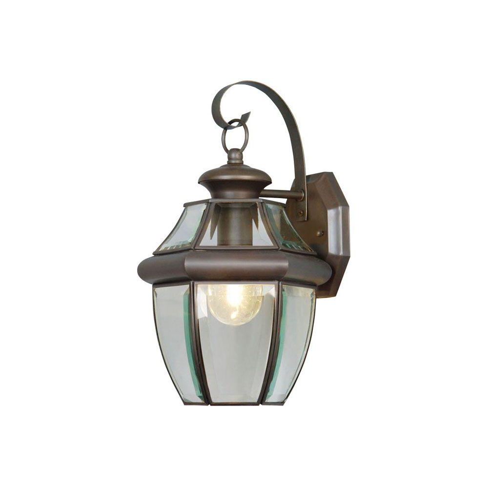 Most Recently Released Carrington Beveled Glass Outdoor Wall Lanterns Regarding Livex Lighting 1 Light Bronze Outdoor Wall Lantern Sconce (View 7 of 20)