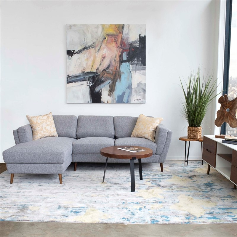 Most Recently Released Dulce Mid Century Chaise Sofas Light Gray Intended For Mid Century Modern Sadie Gray Sectional Sofa (right Chaise (View 17 of 20)