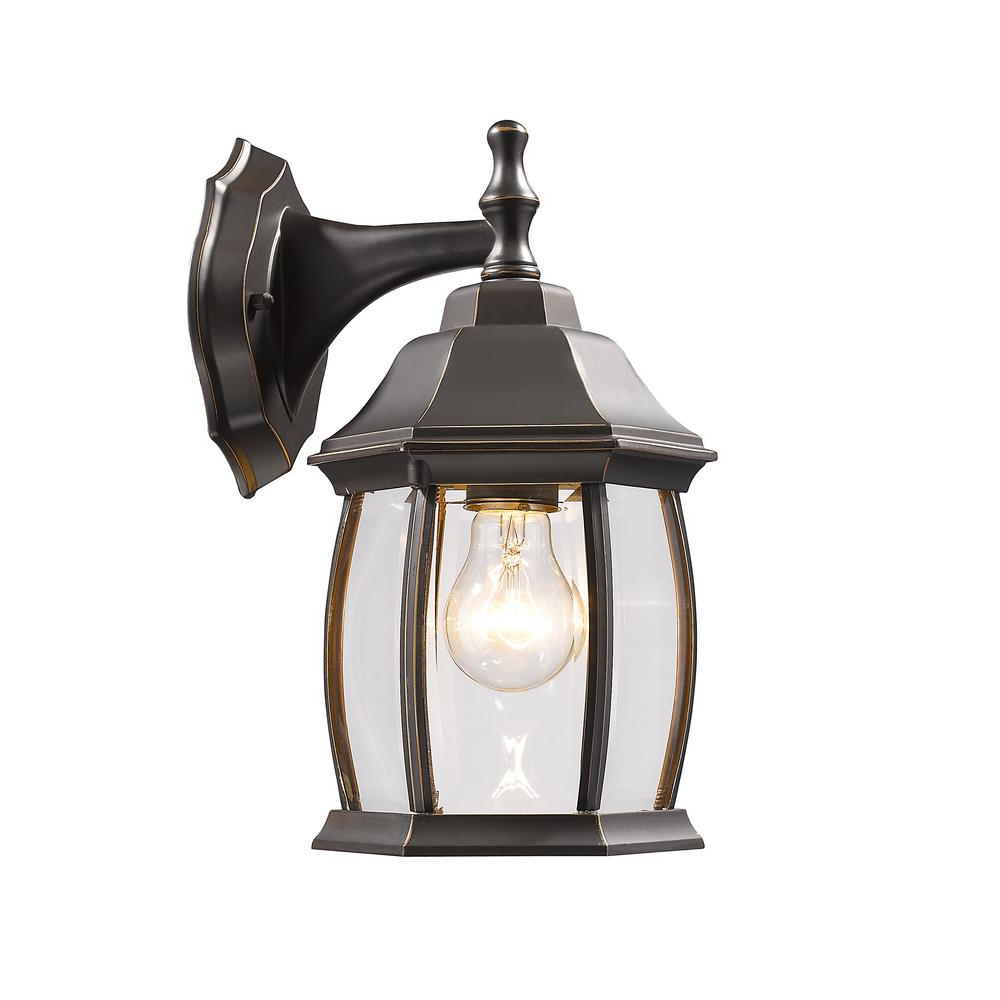 Most Recently Released Faunce Beveled Glass Outdoor Wall Lanterns In Filament Design Remington 1 Light Oil Rubbed Bronze (View 19 of 20)