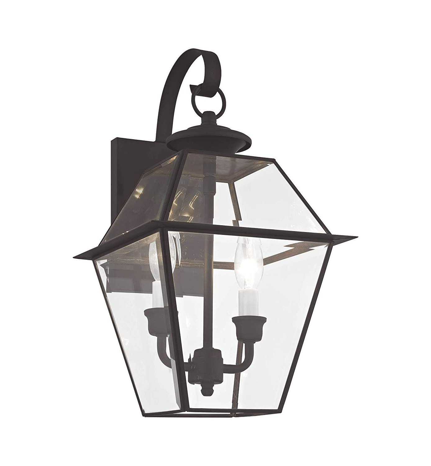 Most Recently Released Gillian Beveled Glass Outdoor Wall Lanterns Intended For Livex Lighting 2281 04 Westover 2 Light Outdoor Black (View 3 of 20)