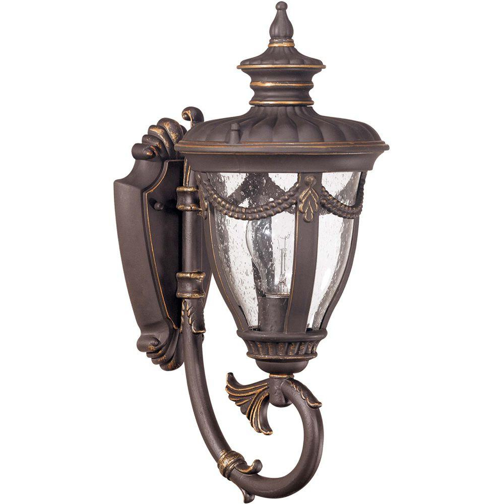 Most Recently Released Glomar 1 Light Outdoor Belgium Bronze Small Wall Lantern Pertaining To Payeur Hammered Glass Outdoor Wall Lanterns (View 11 of 20)