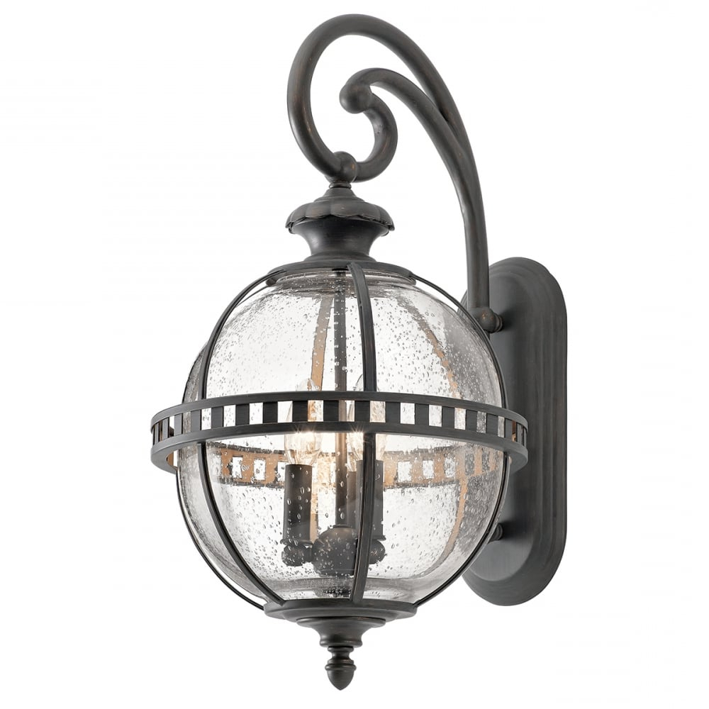Most Recently Released Halleron Medium Wall Lantern Seeded Glass Globe Matte For Emaje Black Seeded Glass Outdoor Wall Lanterns (View 17 of 20)