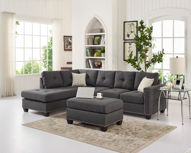Most Recently Released Oah D6137 3 Pc Latitude Run Menendez Steel Gray Linen Like With Radcliff Nailhead Trim Sectional Sofas Gray (View 19 of 20)