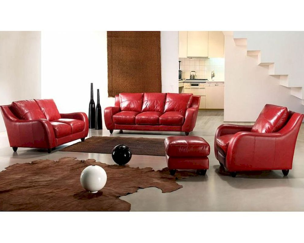 Most Recently Released Red Sofas In Contemporary Full Leather Red Sofa Set 44l2540 Red (View 17 of 20)