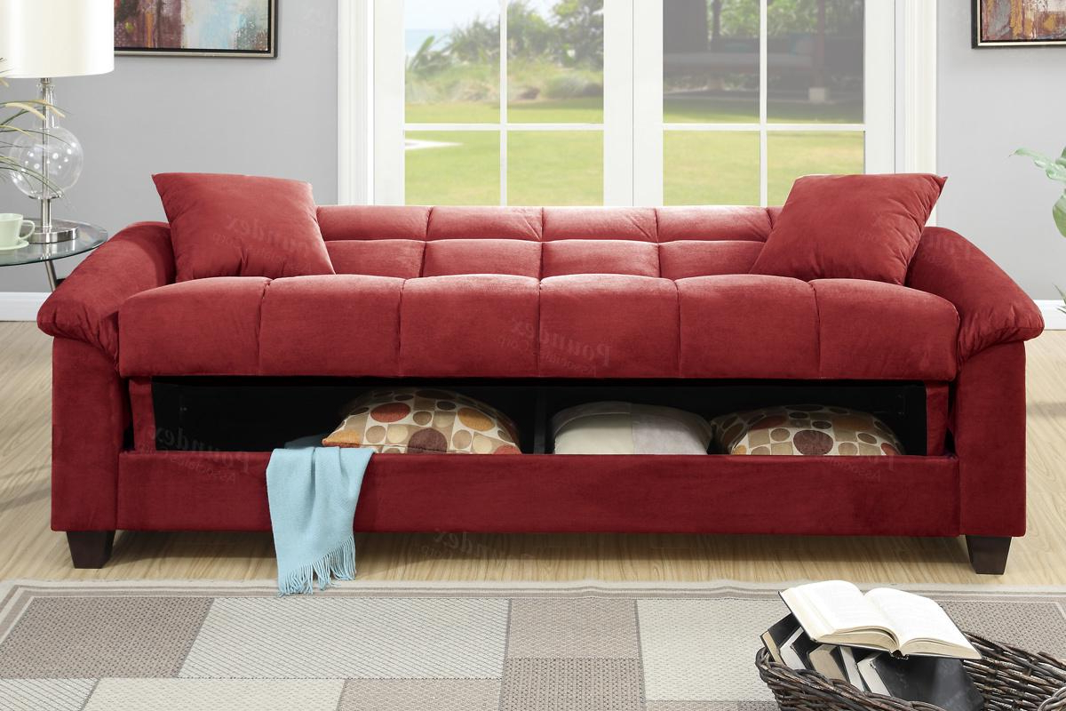 Most Recently Released Red Sofas In Poundex Gertrude F7890 Red Fabric Sofa Bed – Steal A Sofa (View 3 of 20)