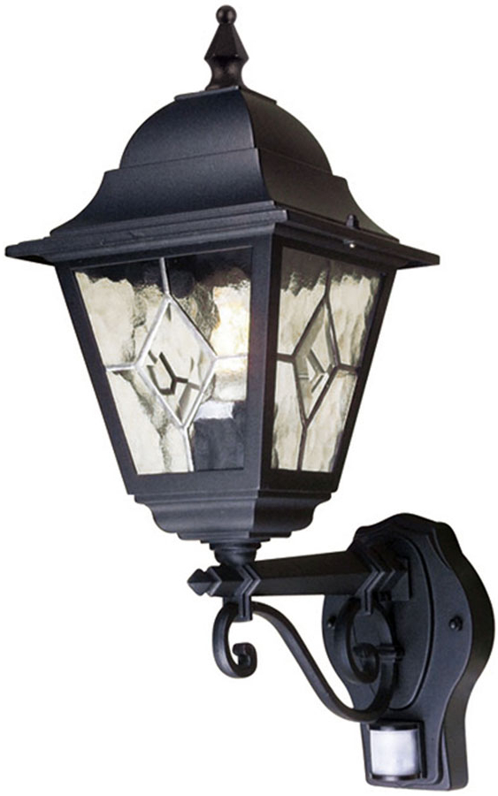 Most Recently Released Rockmeade Black Outdoor Wall Lanterns Intended For Norfolk Traditional Black Outdoor Pir Wall Lantern Upward (View 11 of 20)