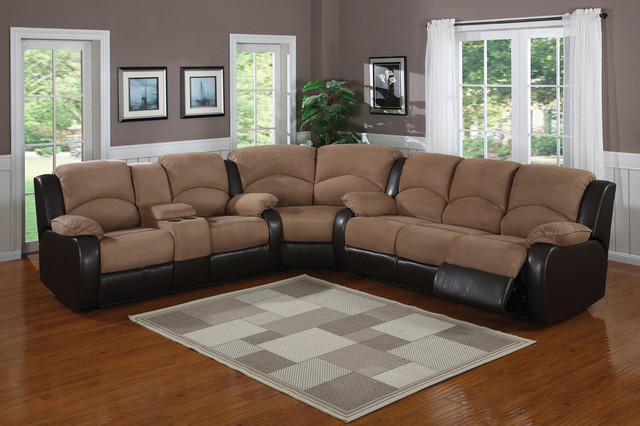 Most Recently Released – Saddle Brown Padded Microfiber Suede Reclining Sectional Within Dream Navy 3 Piece Modular Sofas (View 2 of 20)