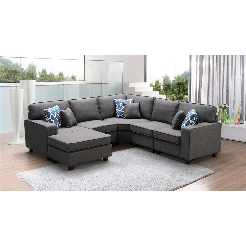 Most Recently Released Sonoma Dark Gray Fabric 6pc Modular Sectional Sofa And Within Dream Navy 3 Piece Modular Sofas (View 3 of 20)