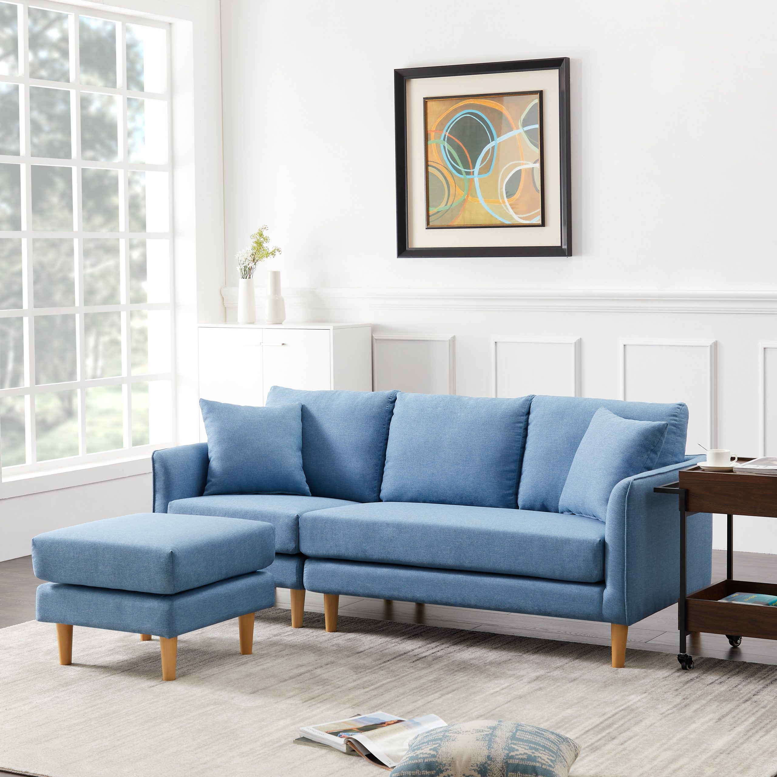 Most Recently Released Urhomepro Reversible Sectional Sofa Couch, Modern 3 Seat With Dove Mid Century Sectional Sofas Dark Blue (View 14 of 20)
