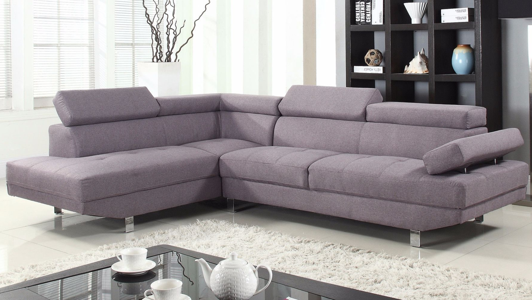 Most Up To Date 2 Piece Modern Linen Fabric Right Facing Chaise Sectional Regarding Polyfiber Linen Fabric Sectional Sofas Dark Gray (View 6 of 20)