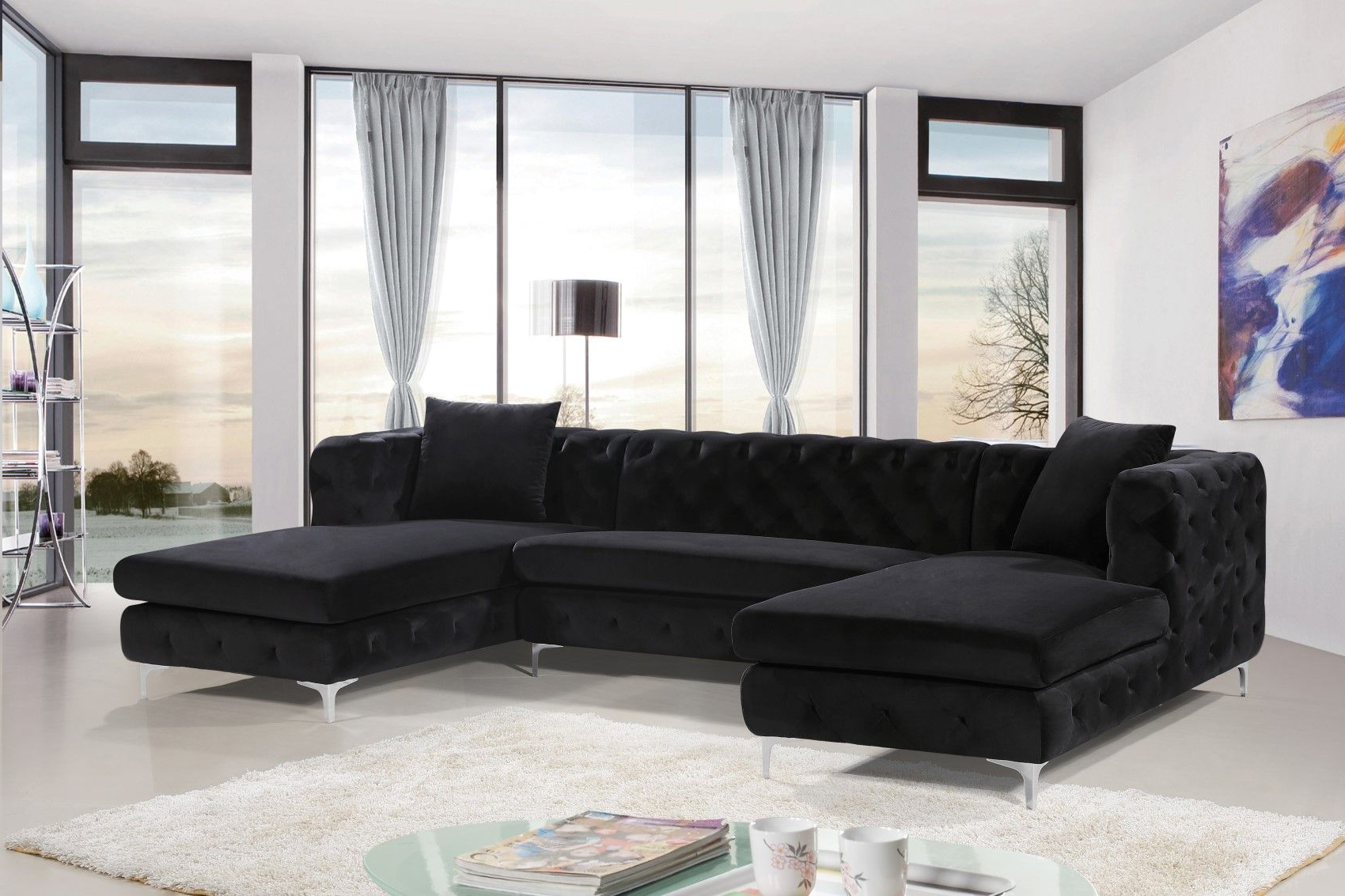 Most Up To Date 3pc French Seamed Sectional Sofas Velvet Black With Regard To Gail Deep Tufted Black Velvet Double Chaise Sectional Sofa (View 7 of 20)