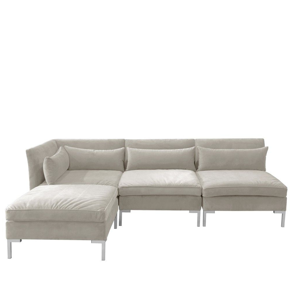 Most Up To Date 4pc Alexis Sectional With Silver Metal Y Legs Light Gray With 4pc Alexis Sectional Sofas With Silver Metal Y Legs (View 4 of 20)