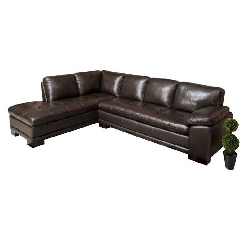 Most Up To Date Abbyson Tekana Leather Sectional In Dark Brown – Ci N680 Brn With Bonded Leather All In One Sectional Sofas With Ottoman And 2 Pillows Brown (View 15 of 20)