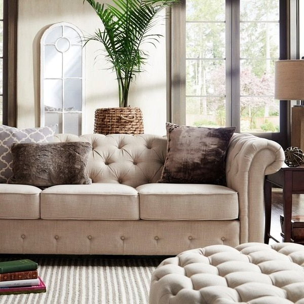 Most Up To Date Artisan Beige Sofas Regarding Knightsbridge Beige Fabric Button Tufted Chesterfield Sofa (View 14 of 20)