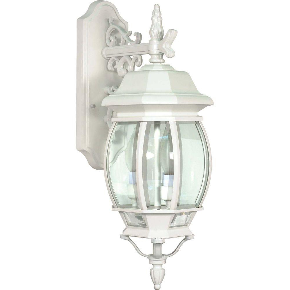 Most Up To Date Brookland Outdoor Wall Lanterns Inside Glomar 3 Light Outdoor White Wall Lantern Hd 891 – The (View 16 of 20)