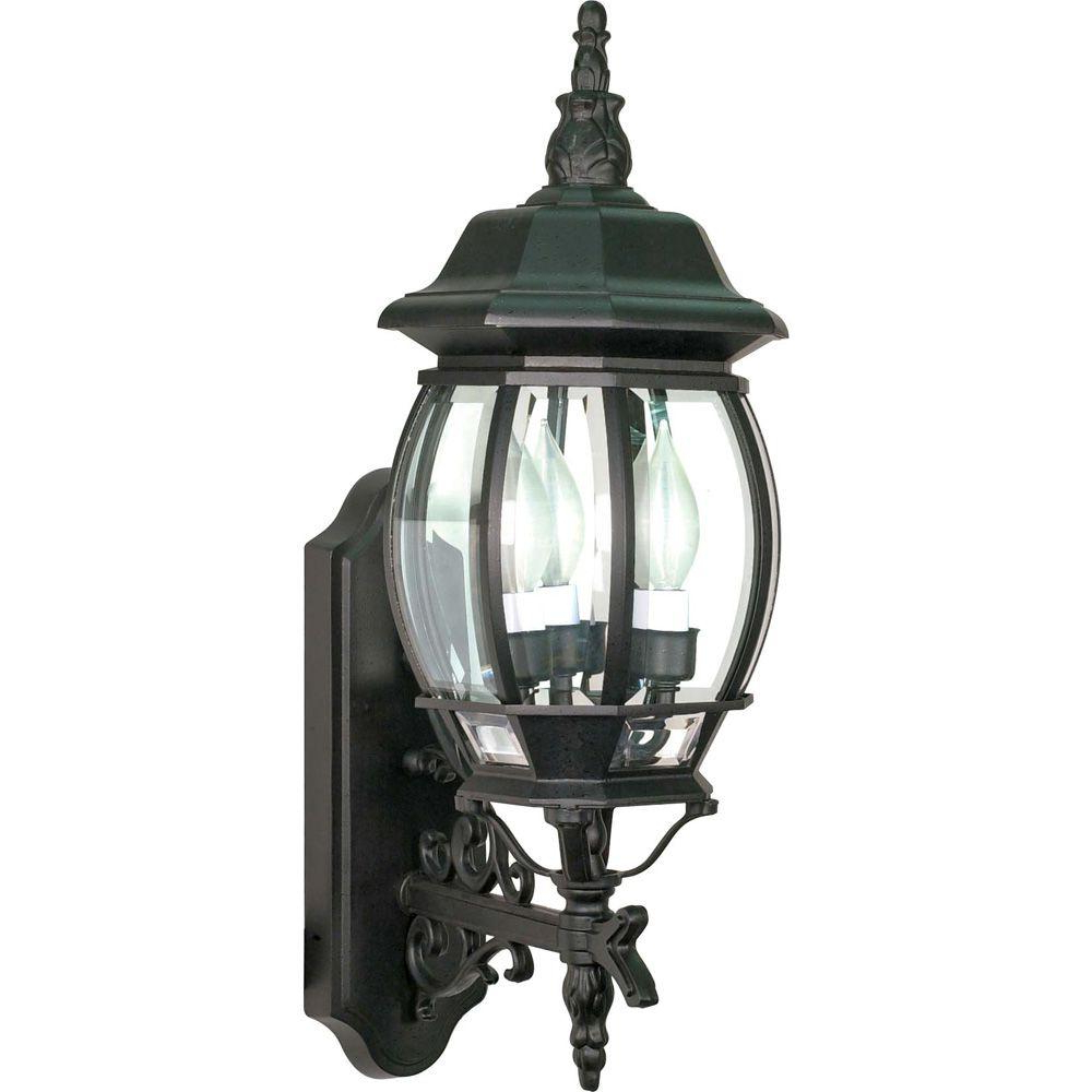 Most Up To Date Faunce Beveled Glass Outdoor Wall Lanterns For Glomar 3 Light – 22 In (View 17 of 20)