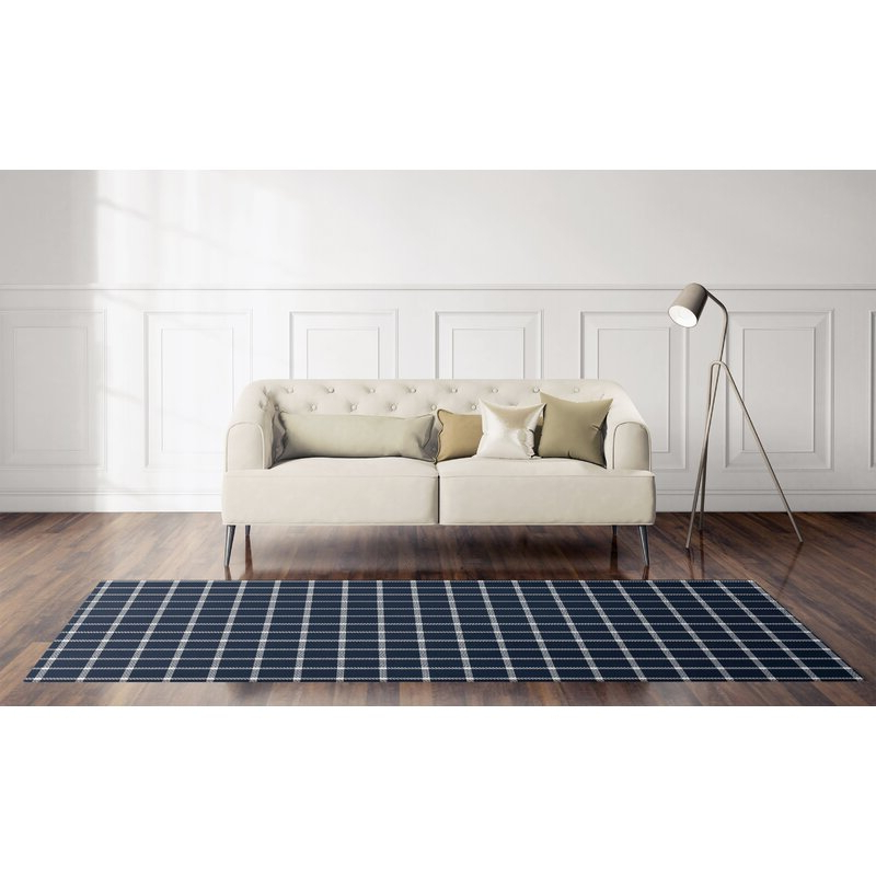 Most Up To Date Gracie Navy Sofas Throughout Gracie Oaks Hrahad Plaid Navy Blue Area Rug (View 1 of 20)