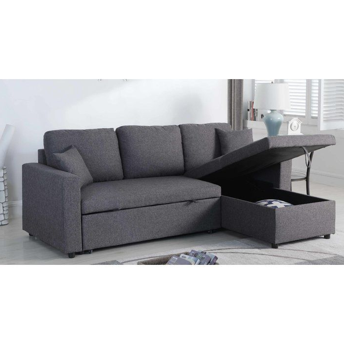Most Up To Date Hugo Chenille Upholstered Storage Sectional Futon Sofas Within Mullaney Reversible Storage Pull Out Bed Sleeper Sectional (View 3 of 20)