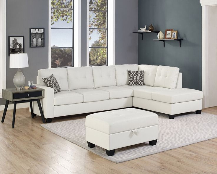 Most Up To Date Oah D6210 3 Pc Red Barrel Studio Qdees White Faux Leather Within 3pc Miles Leather Sectional Sofas With Chaise (View 17 of 20)