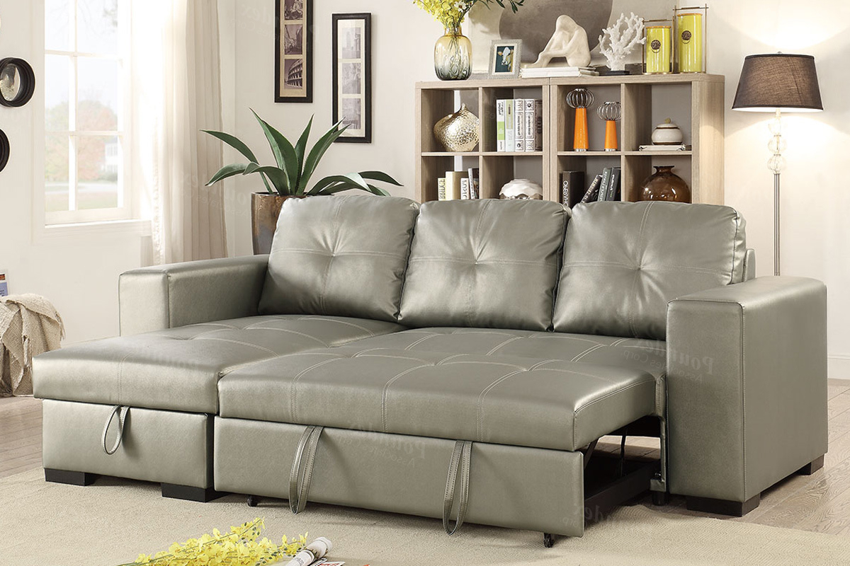 Most Up To Date Prato Storage Sectional Futon Sofas Regarding Silver Faux Leather Convertible Sectional Sofa Bed (View 13 of 20)