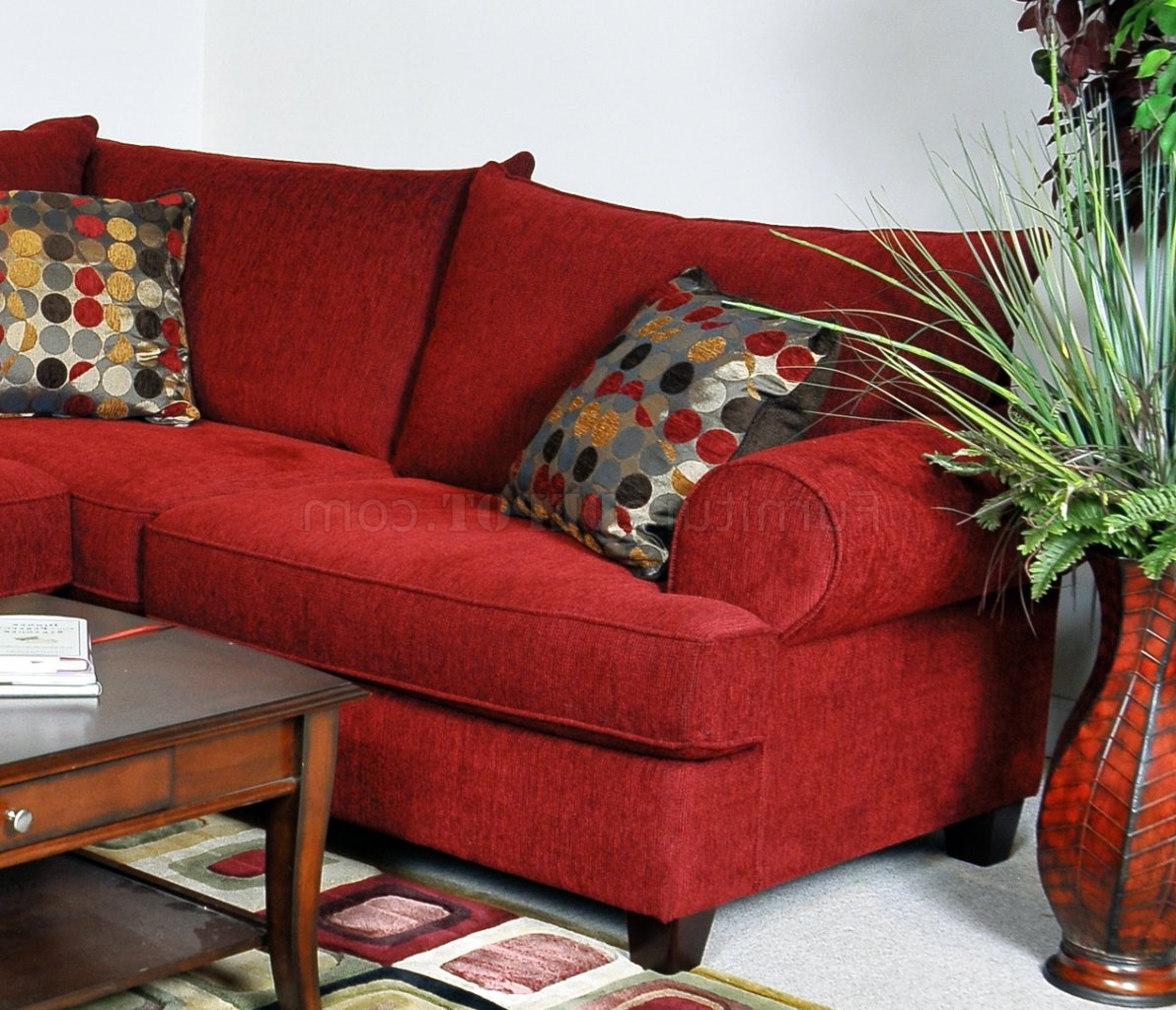 Most Up To Date Red Fabric Contemporary Sectional Sofa W/rolled Arms Intended For Red Sofas (View 1 of 20)