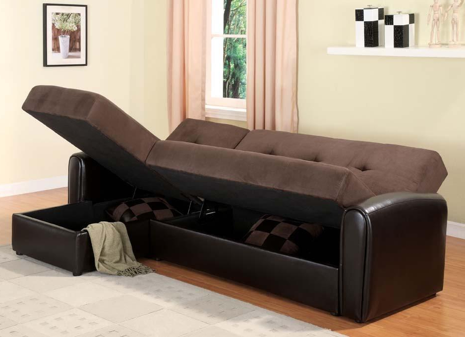Most Up To Date Storage Sectional Sofa Sleeper Bed Within Celine Sectional Futon Sofas With Storage Reclining Couch (View 19 of 20)