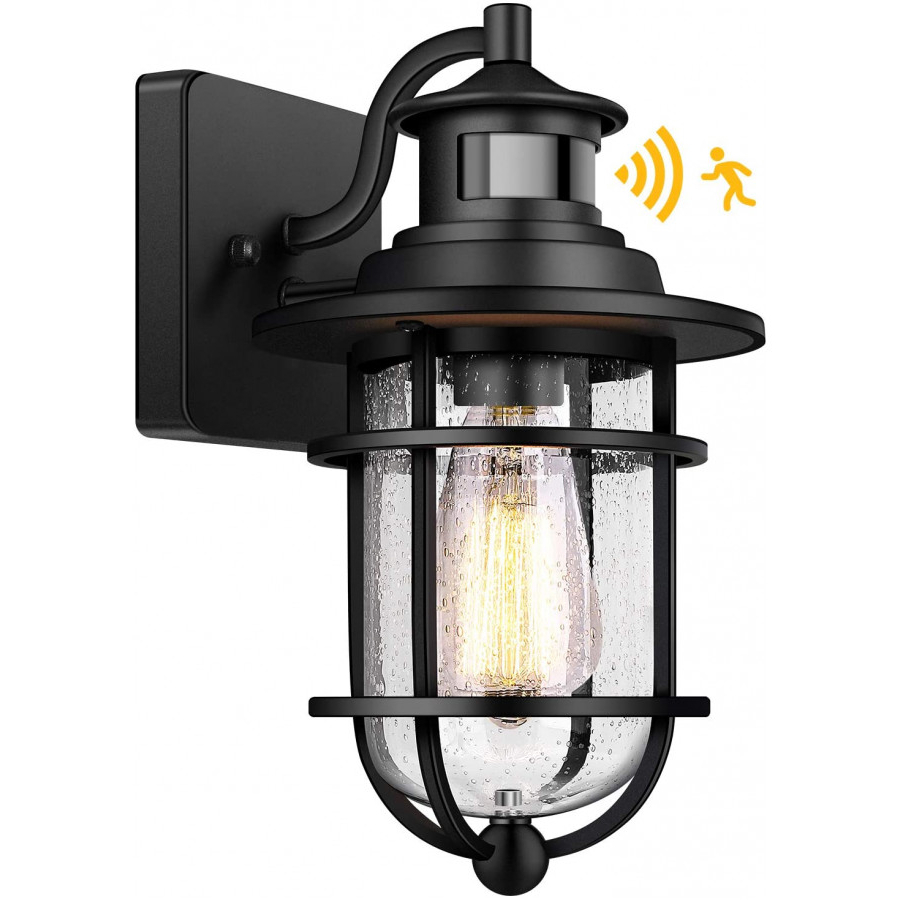 Motion Sensor Outdoor Wall Lantern Dusk To Dawn Waterproof With Regard To Recent Manteno Black Outdoor Wall Lanterns With Dusk To Dawn (View 2 of 20)