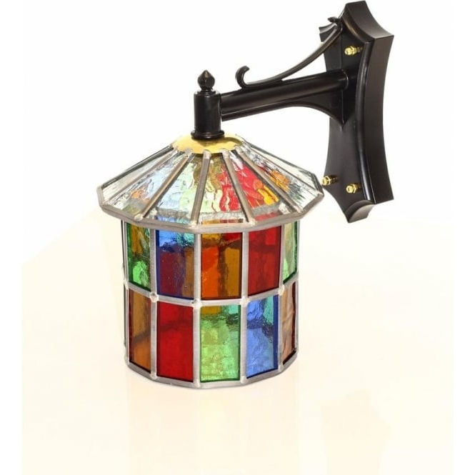 Multi Coloured Stained Glass Outdoor Wall Lantern, Ip23 Within Fashionable Wrentham Beveled Glass Outdoor Wall Lanterns (View 8 of 20)