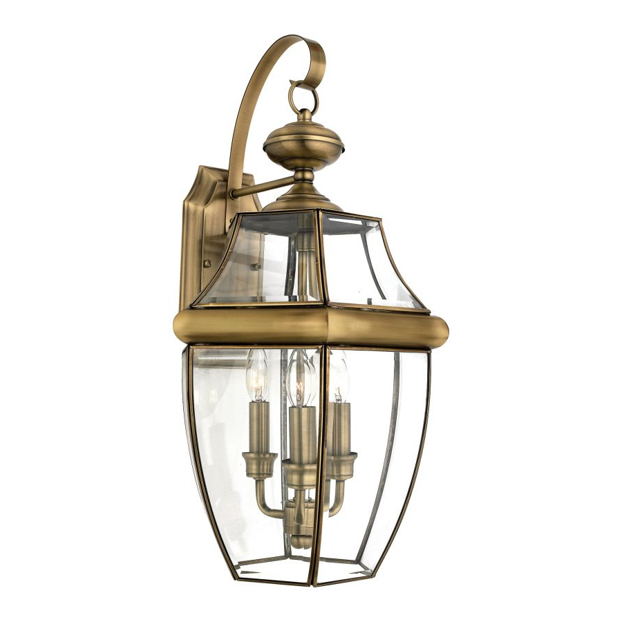 Natalia 16 In W 3 Light Antique Brass Pocket Wall Sconce Intended For Trendy Gillian 3 – Bulb Beveled Glass Outdoor Wall Lanterns (View 14 of 20)