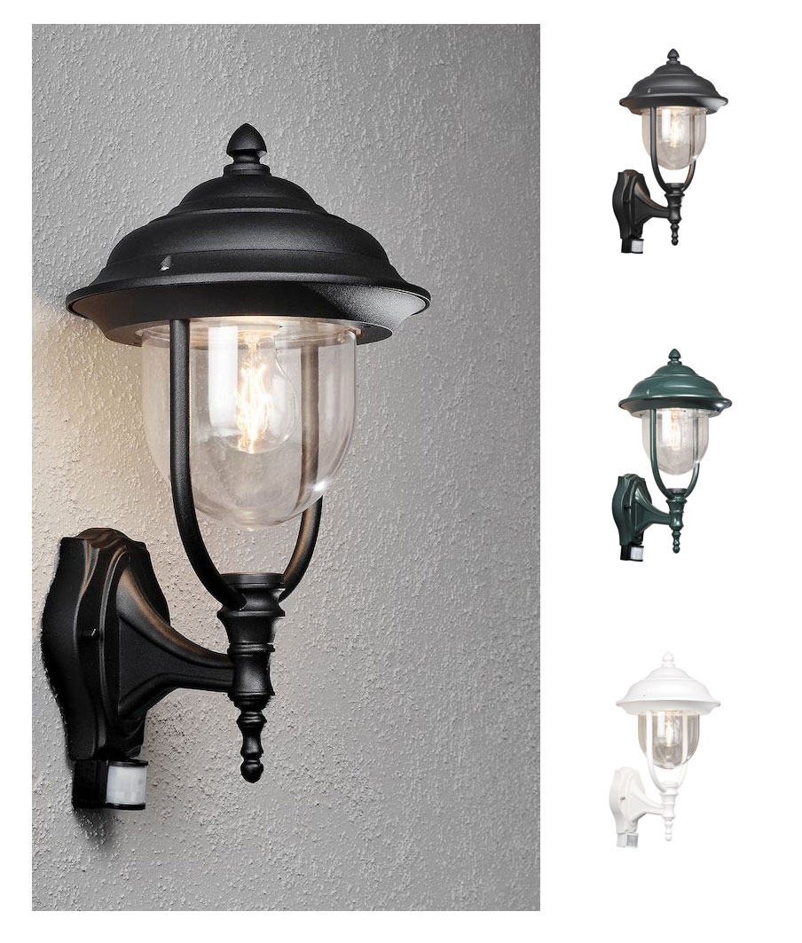 Nayen Black Wall Lanterns Pertaining To Most Recent Simple Traditional Pir Black Wall Lantern With Clear Glass (View 8 of 20)