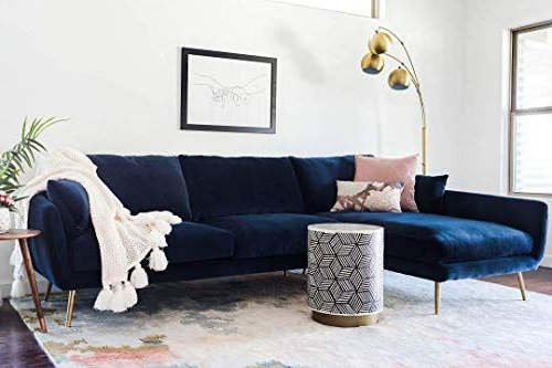 New Edloe Finch Modern Sectional Sofa Left Facing Chaise Inside Famous Dulce Mid Century Chaise Sofas Dark Blue (View 18 of 20)