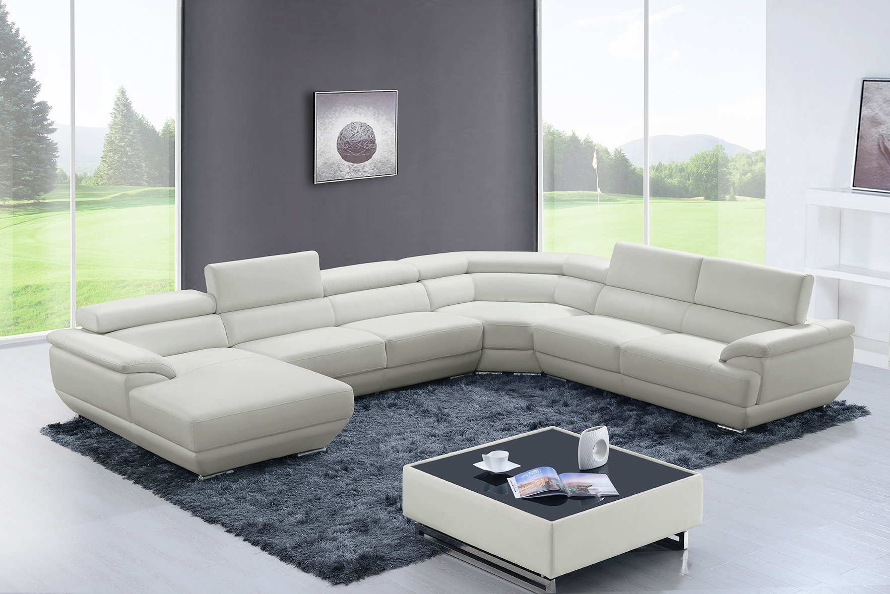 Newest 430 Sectional Off White, Sectionals, Living Room Furniture In Sectional Sofas In White (View 3 of 20)