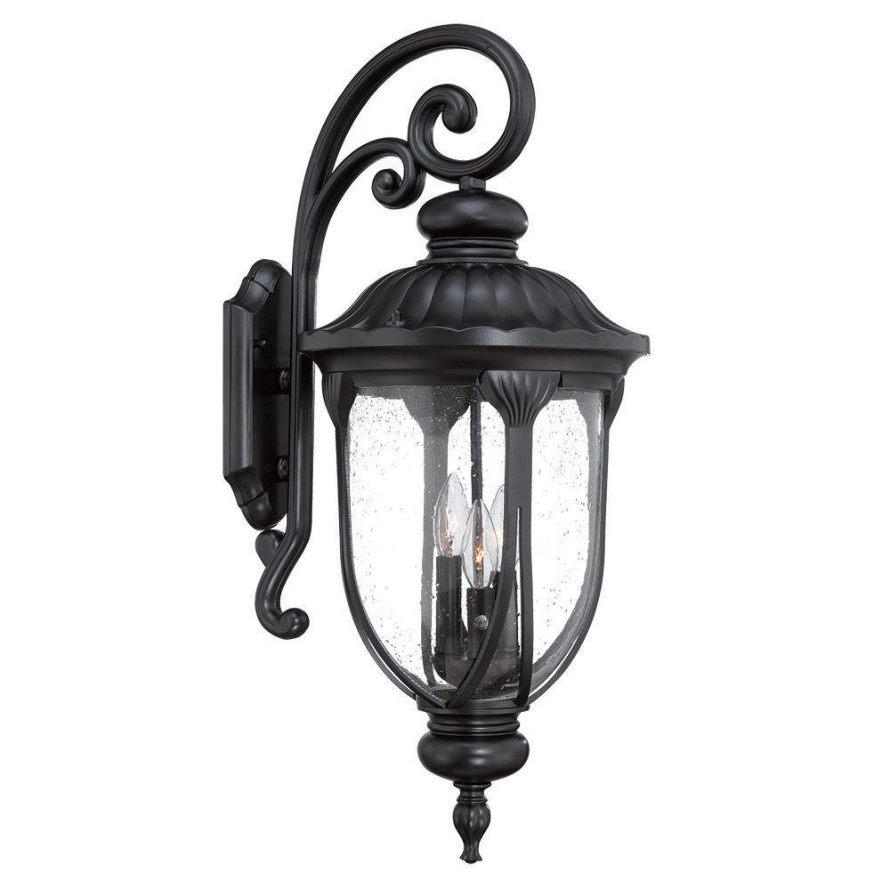 Newest Acclaim Lighting Laurens Collection 3 Light Matte Black Pertaining To Rockmeade Black Outdoor Wall Lanterns (View 4 of 20)