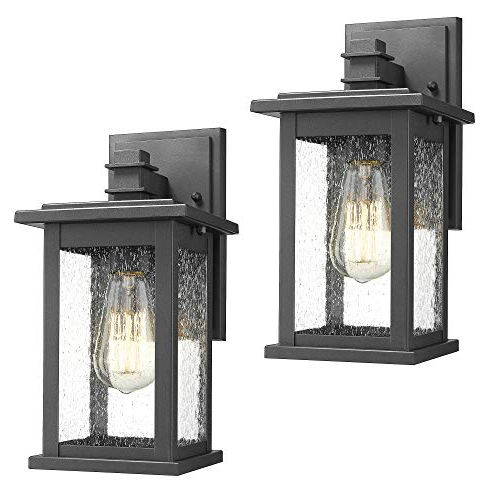 Newest Carrington Beveled Glass Outdoor Wall Lanterns Regarding Emliviar Outdoor Wall Mount Lights 2 Pack, 1 Light (View 20 of 20)
