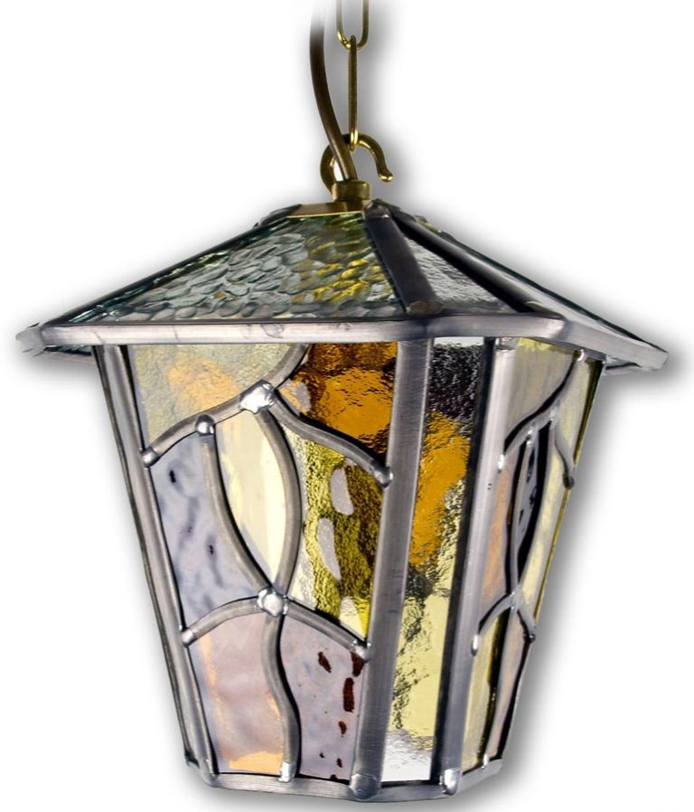 Newest Chicopee Beveled Glass Outdoor Wall Lanterns Regarding Coniston Amber Leaded Glass Downward Outdoor Wall Lantern (View 7 of 20)