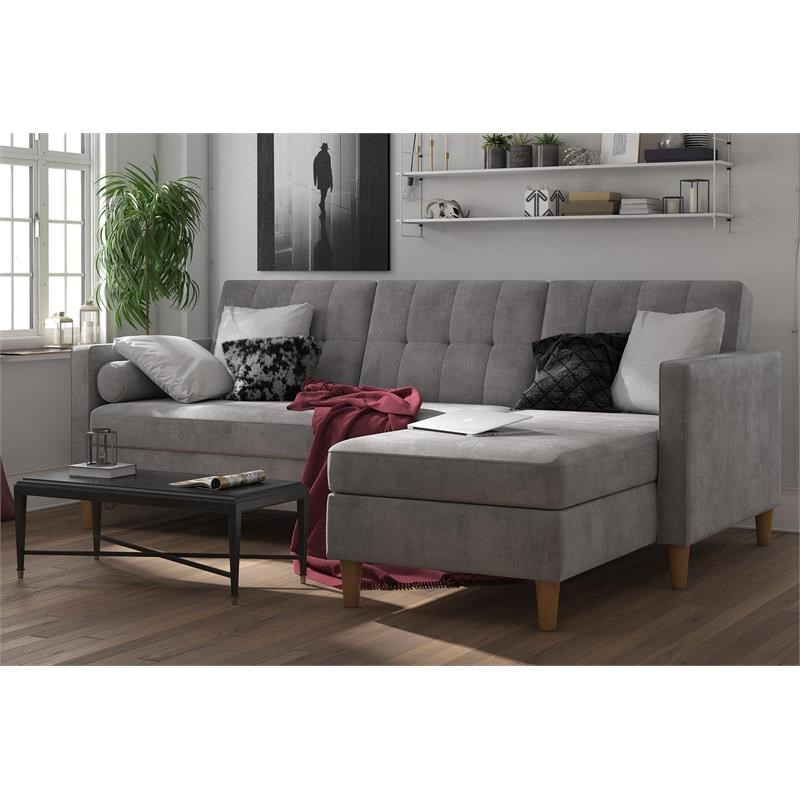 Newest Dhp Hartford Storage Sectional Futon With Chaise In Gray Throughout Hugo Chenille Upholstered Storage Sectional Futon Sofas (View 9 of 20)