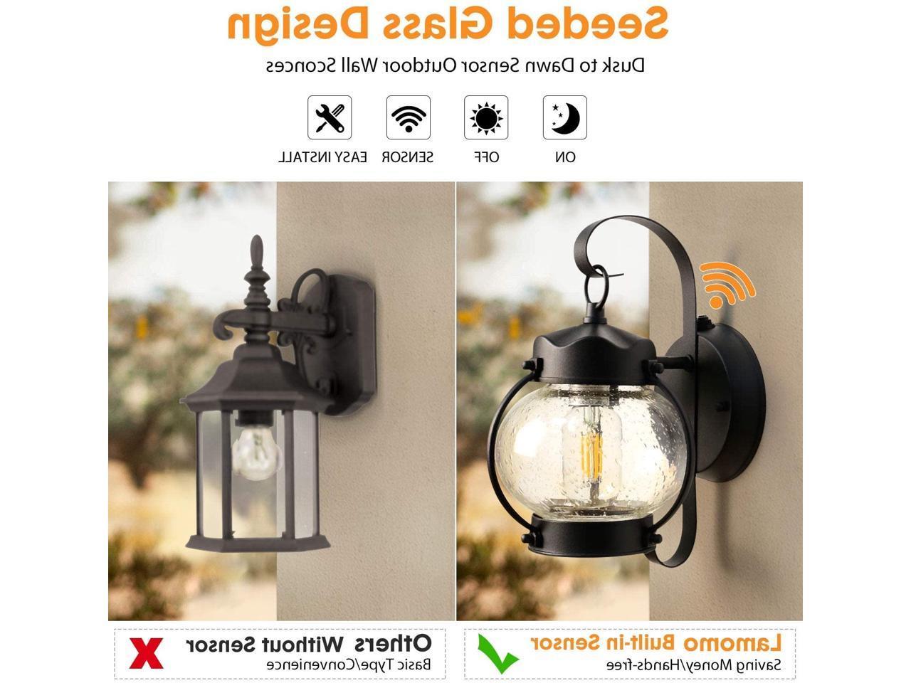 Newest Dusk To Dawn Sensor Wall Lantern Outdoor Light Fixture Regarding Ballina Matte Black Outdoor Wall Lanterns With Dusk To Dawn (View 7 of 20)