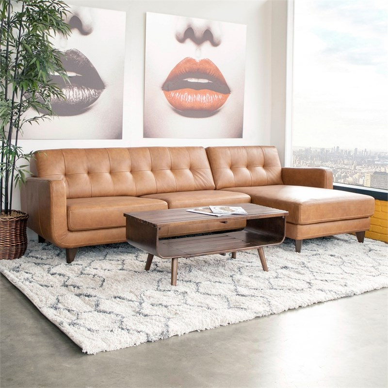Newest Florence Mid Century Modern Left Sectional Sofas Inside Mid Century Modern Davis Tan Genuine Leather Sectional (View 5 of 20)