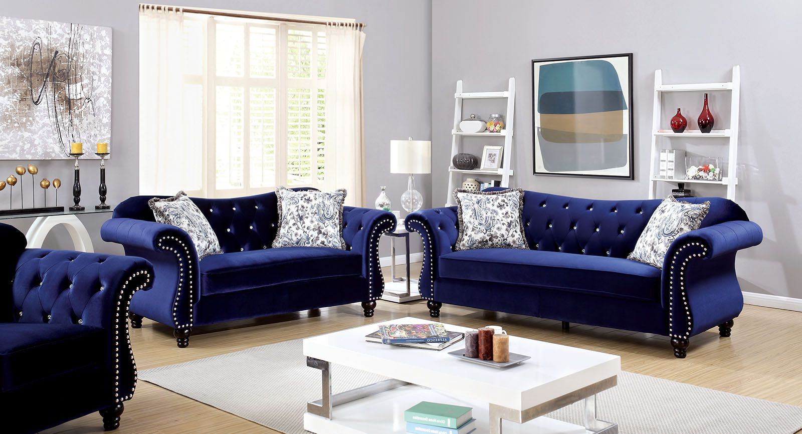 Newest Furniture Of America Jolanda Blue Flannelette Fabric Intended For Molnar Upholstered Sectional Sofas Blue/gray (View 14 of 20)