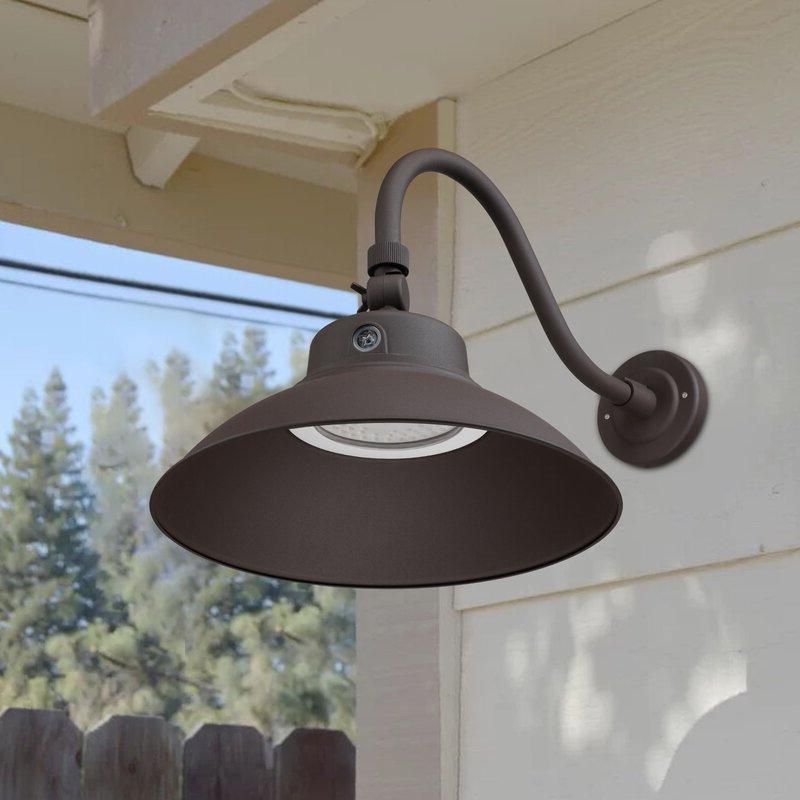 Newest Gunnora Outdoor Barn Lights With Dusk To Dawn Regarding Breakwater Bay Dwayne Led Outdoor Barn Light With Dusk To (View 15 of 20)