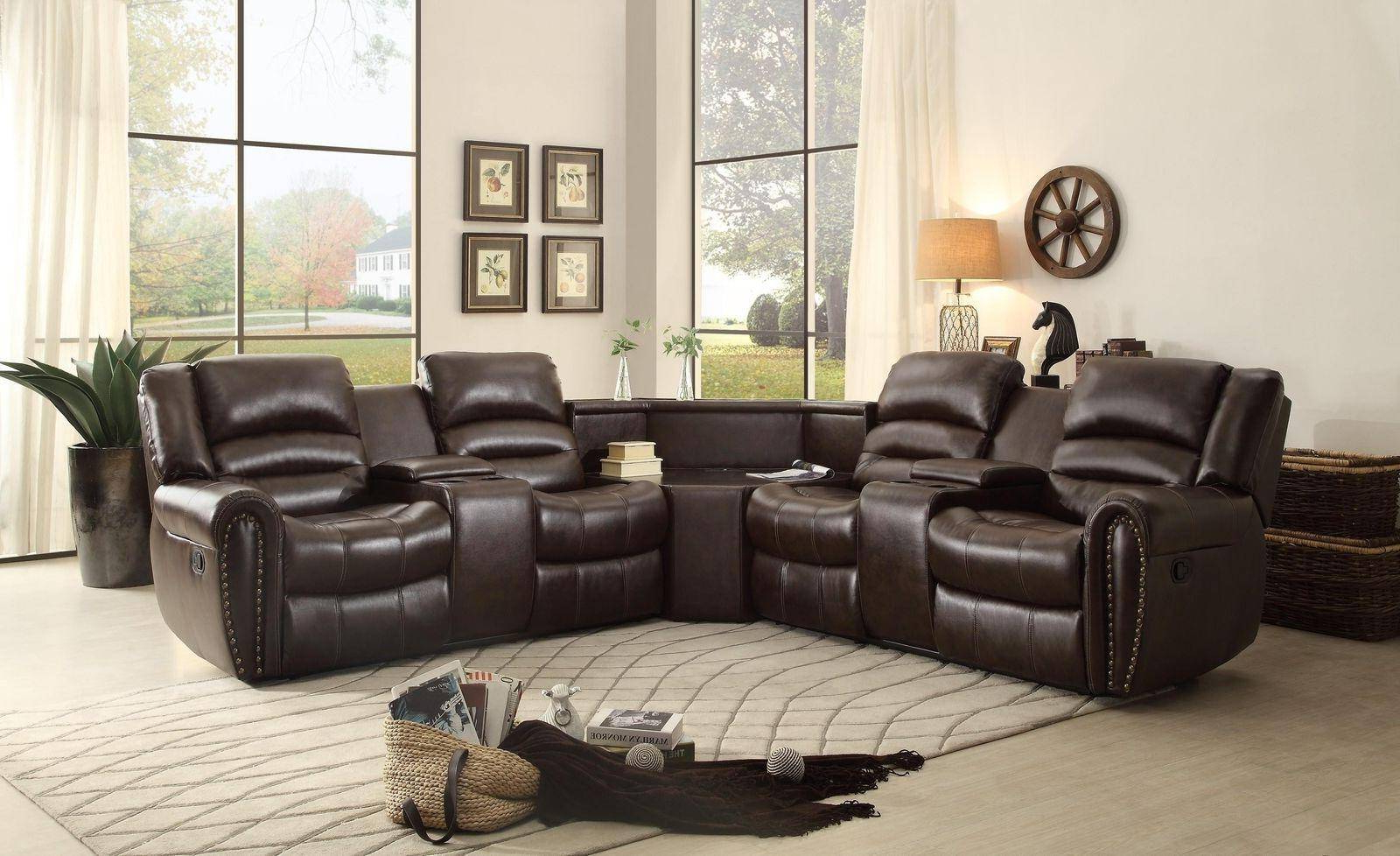 Newest Homelegance Palmyra Brown Bonded Leather Reclining With Regard To 3pc Bonded Leather Upholstered Wooden Sectional Sofas Brown (View 6 of 20)