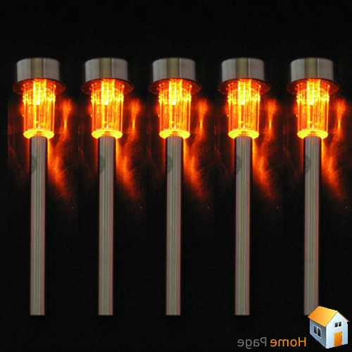 Newest Journey Outdoor Wall Lanterns Regarding 5 X Solar Powered Orange Led Steel Lamp Light Outdoor Home (View 8 of 20)