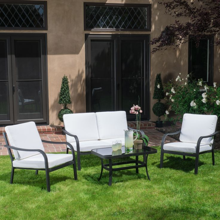 Newest Langston Outdoor 4pc Grey & Ivory Seating Set (View 20 of 20)