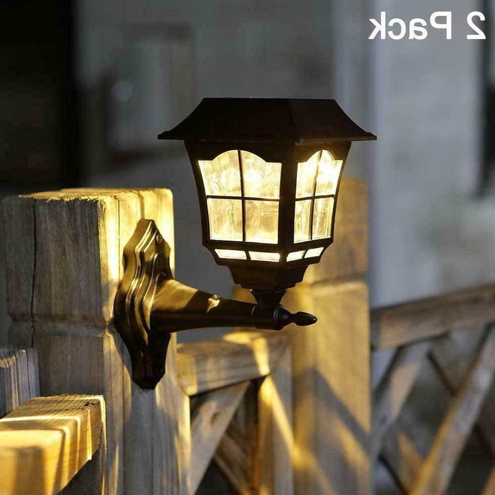 Newest Malak Outdoor Wall Lanterns Throughout 2 Pack Outdoor Solar Wall Mount Lantern Sconce Led Light (View 14 of 20)