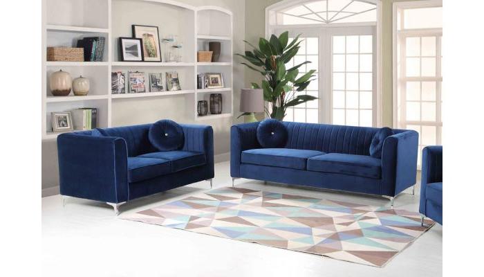 Newest Modern Blue Sofa Meridian Furniture 663 Scarlett Modern Throughout Scarlett Blue Sofas (View 8 of 20)