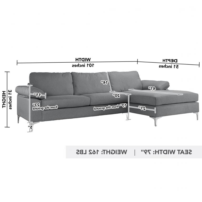 Newest Modern Large Linen Fabric Sectional Sofa, L Shape Couch With Regard To 2pc Crowningshield Contemporary Chaise Sofas Light Gray (View 18 of 20)