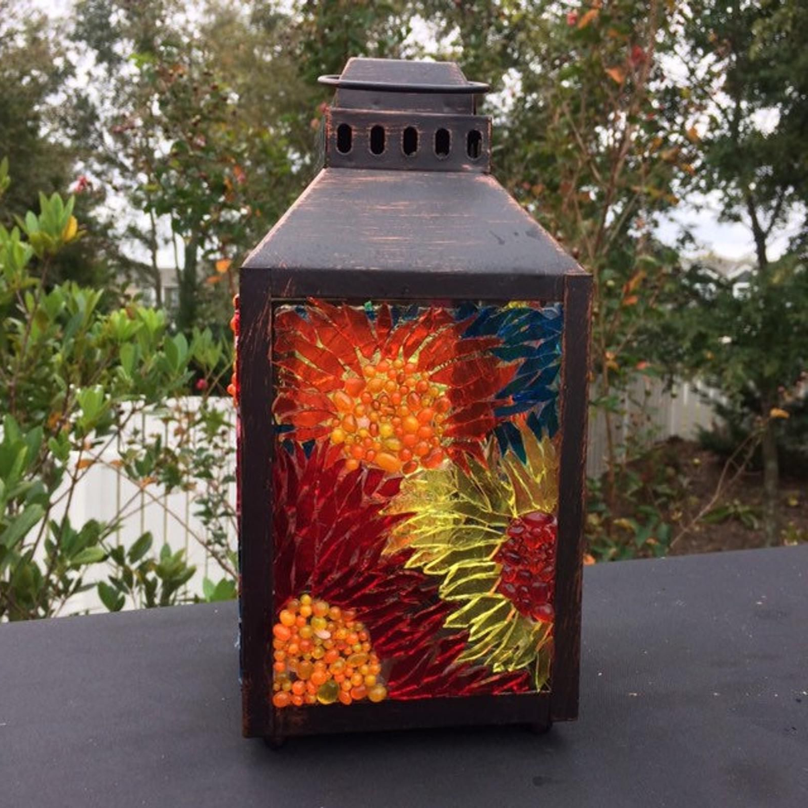 Newest Mosaic Lantern Small, Stained Glass Lamtern For Garden In Wrentham Beveled Glass Outdoor Wall Lanterns (View 14 of 20)