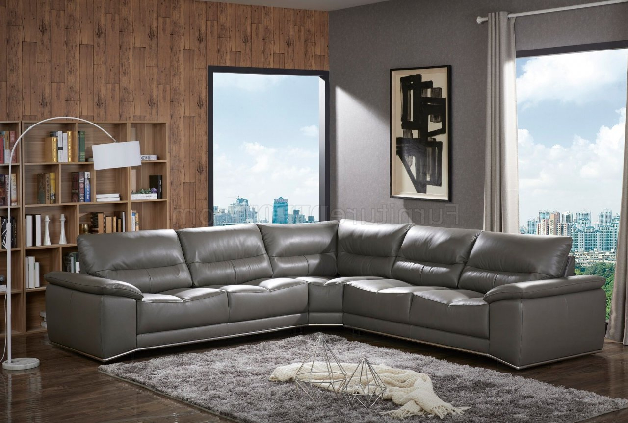 Newest Noa Sectional Sofas With Ottoman Gray With Cagliari Sectional Sofa In Grey Premium Leatherj&m (View 14 of 20)