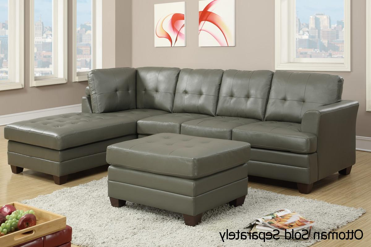 Newest Poundex F7777 Grey Leather Sectional Sofa – Steal A Sofa With Noa Sectional Sofas With Ottoman Gray (View 16 of 20)