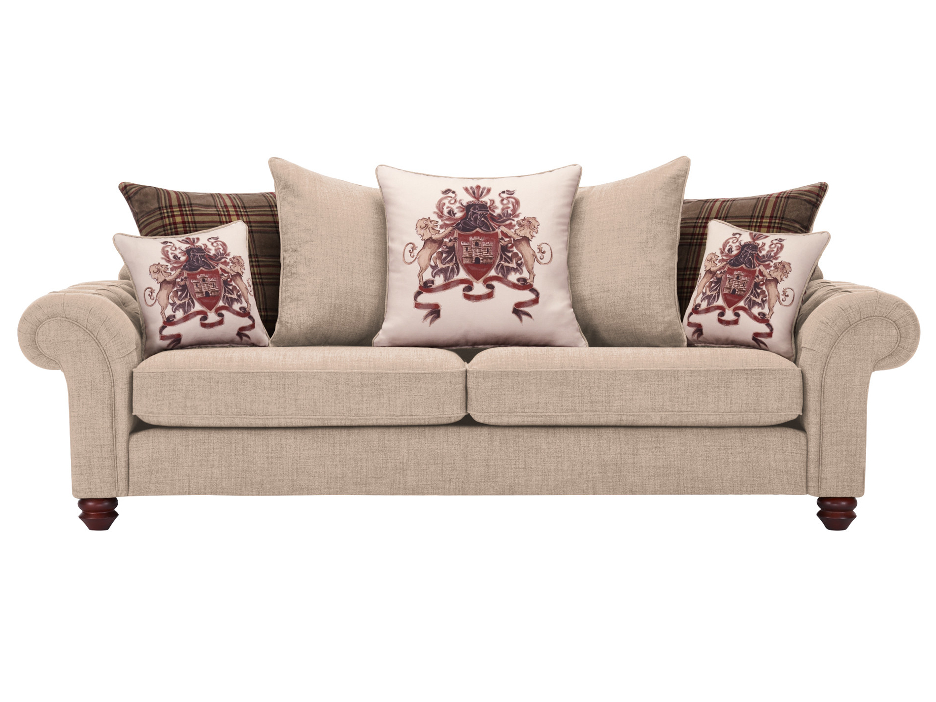 Newest Sandringham 4 Seater Pillow Back Sofa In Beige With Brown Inside Lyvia Pillowback Sofa Sectional Sofas (View 4 of 20)